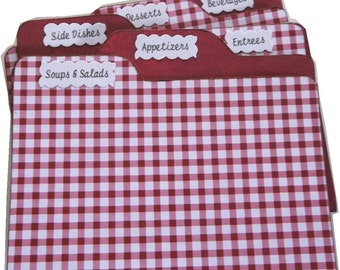 Recipe Card Box Tab Dividers STURDY (Set of 6) To Coordinate with My Recipe Boxes, Red Gingham Check 3 x 5 or 4 x 6 MADE To ORDER
