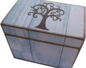 Recipe Card Box, Index Card Box, Decoupage Wooden Box, Holds 4x6  Cards, Cottage Rustic Chic, Blue Tree of Life, READY TO SHIP