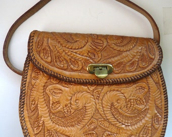 Hand tooled leather Western Southwestern shoulder bag purse vintage cowgirl retro hippie boho