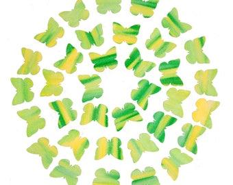 35  Die Cut Watercolor Paper Butterflies  -  Green & Yellow