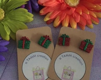 Glitter Presents Earrings - Red or Green Options