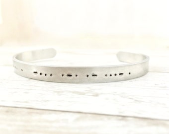 Morse code bracelet, be brave personalized cuff, birthday gift for her, inspirational jewelry, secret message, aluminum or sterling silver