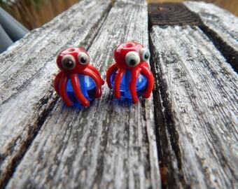 Squid pair ,  Lampwork Bead Pair, Simply Lampwork by Nancy Gant, SRA G55