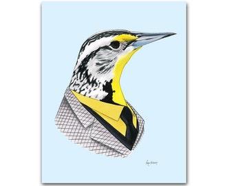 Western Meadowlark art print 8x10