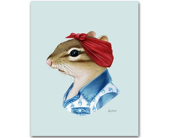 Chipmunk Lady - animal print - modern kid art - woodland nursery - modern nursery - animals in clothes - gift for her - Ryan Berkley 8x10
