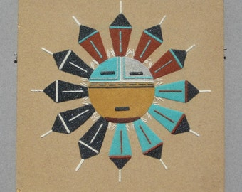 Vintage Navajo Sand Painting Sun Face Native American Indian Art