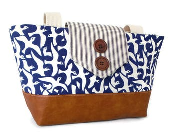 Iman Designer Print - Birds in Flight - Ticking Stripe - Wayfarer Purse - Seaside - Nautical