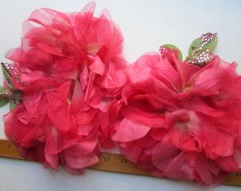 4 Fuschia Pink  Silk  Flowers  Halo Vintage Millinery Hat Trims Satin Rhinestones