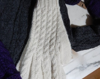 Cable Knitted Alpaca Gloves Ladies