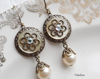 Antique Mother of Pearl Button Earrings, Embellished with Swarovski Crystal, Antique Brass