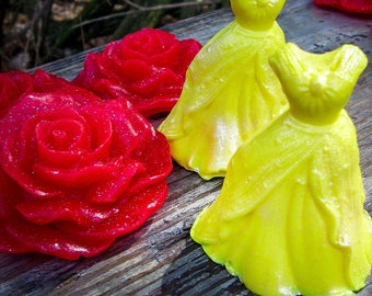 Beauty and the Beast Soap Collection, Belle's Dress, Red Rose, Yellow Dress, Gold Dress, Beauty and the Beast Favors, Beauty Birthday, Gown