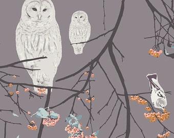 Bird Songs Sun - Blithe - Art Gallery Fabrics - Katarina Roccella - BLI-85606 - Quilting Fabric with Owls - Birds Trees Woodland Forest