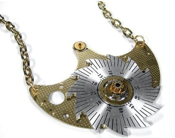 Steampunk Jewelry Necklace Vintage Clock Parts SAW TOOTH Wheel German Watch Wediing Anniversary Men Women - Steampunk Jewelry by edmdesigns