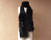Handknit, Feathery Black Ribbon Scarf is Black as Midnight, Black as Coal, Black as Ravens, Black as Crows