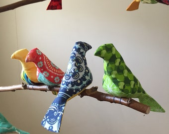 Bird Mobile Custom 11 colorful Birds on natural tree branches personalized just for you