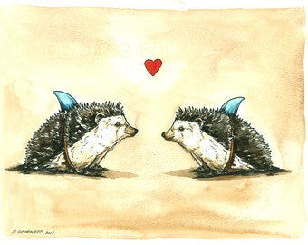 Weird Love   -Original Watercolor painted print~  Hedgehogs in Love..