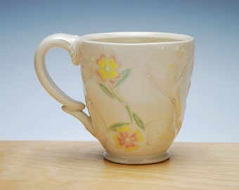 Pink & Yellow Flowers mug in Ivory, Victorian modern, colorized series