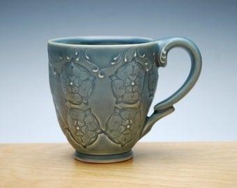 Cornflower blue mug w. Tudor Rose, Victorian modern stamped cup