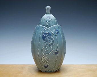 Covered jar in Cornflower blue w. Navy polka dots & Floral, Victorian modern, Handmade home decor
