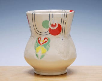 Lovebirds yunomi in Ivory gloss w. Tangerine, Red, & Green polka dots and Navy pinstripes, Colorized detail, Handmade porcelain cup