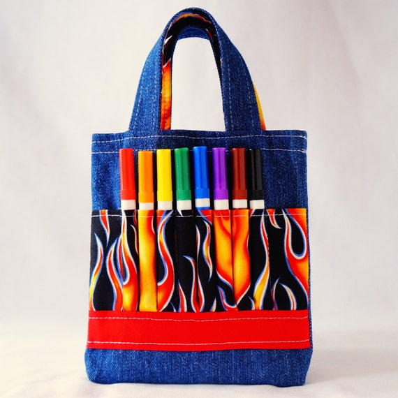 Coloring Tote Crayon Bag Ring Bearer Gift Crayon Tote READY To SHIP ARTOTE Mini in HotShot