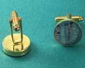 valentines day gift for him, fathers day, Personalized Cufflinks Gold Plated Vintage Map Cuff Links