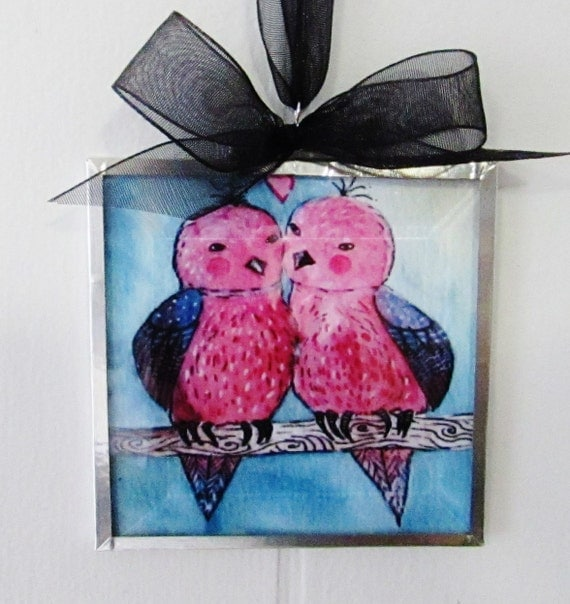 Valentine's Day Gift - Love Birds Ornament - Original Watercolor Art Print - Love Couple - Wedding and Anniversary Gift - Sweetheart Gift