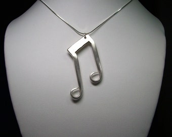 "Upcycled ""Fork"" Music Notes Necklace - 18"" Sterling Silver Snake Chain"