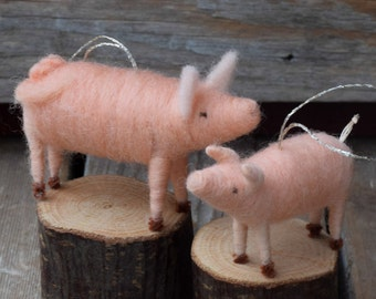 Mama Pig and Baby Piglet Ornament Duo - Needle Felted Christmas Gift Set