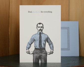 Thanks Dad - letterpress Father's Day card