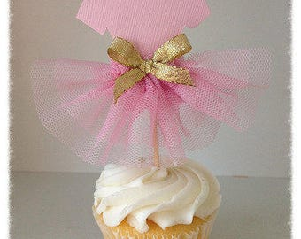RESERVED  12 Ballet Tutu Cupcake Toppers  Set of Six for Ballerina Party Birthday Party