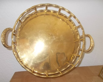 Mid Century Brass tray round faux bamboo serving tray