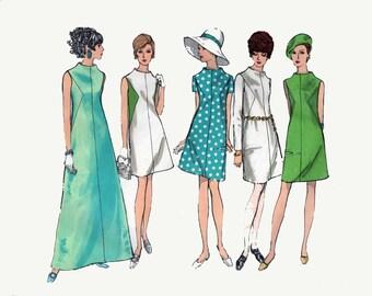 1970s Mod ColorBlock A Line Dress Vogue Basic Design 1944 Vintage 70s Sewing Pattern Size 12 Bust 34 UNCUT