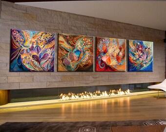 "Wall Art Canvas Art Wall Decor giclee canvas print Four elements Modern Art 142"" Home & Living Decor Air Water Earth Fire Huge Wall hangings"