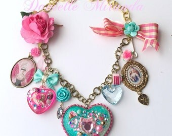 FREE US Shipping Marie Antoinette Sweet Pink Eat Cake Charm Necklace