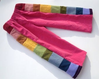 SAMPLE SALE...Pink Pants for Girls...baby  toddler... rainbow corduroy patchwork...3T