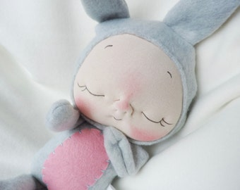 Plush Bunny Rabbit Doll by BeBe Babies Soft Sculpture Baby Doll Waldorf Doll
