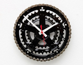 Recycled Bike Gear clock, unique gift, Christmas gift, bike gift clock, gift clock, steampunk, unique clock, wall clock, Industrial clock