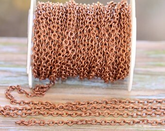 3 ft. Small Hammered Flat Cable Chain Antique Copper 4 x 3mm