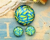 Yellow Turquoise Glass Cabochon, 8mm 10mm 12mm 14mm 16mm 18mm 20mm 25mm 30mm Photo Glass Dome - RCH012Q