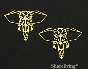 Exclusive - 4pcs Raw Brass Elephant Charm / Pendant, Geometry Animal, Fit For Necklace, Earring, Brooch - TG283
