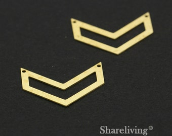 Exclusive - 6pcs Raw Brass Chevron Charm / Pendant,  Fit For Necklace, Earring, Brooch  - TG345