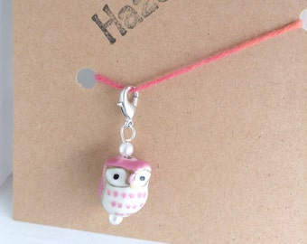 Mauve owl progress keepers, knitting supplies zipper pull charm, knitting progress keeper, stitch markers for knitting harry potter owl