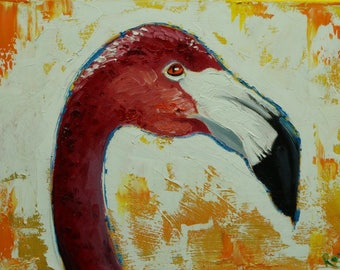 Flamingo painting 3 12x16 inch original oil painting by Roz