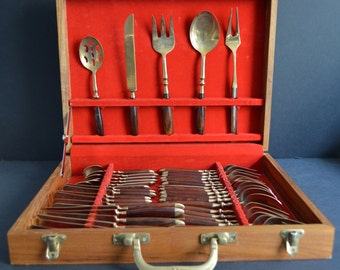 Mid-Century Teak & Bronze Flatware Service for 6 with EXTRA Serving Tools in the Original Case- MADE in THAILAND
