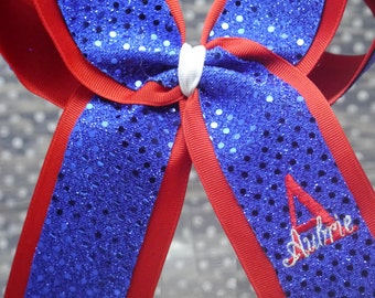 Embroidered Personalized 2 loop Sparkle Sequin Cheer Bow. Custom.  Your name layered on top of your initial.