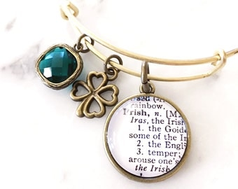 Irish Pride Charm Bracelet - Personalized Definition Jewelry - St. Patrick's Day - Stacked Bangle