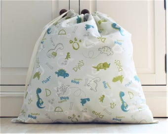 Cotton Toy Bag, Laundry Bag in Dinosaur Cartoon Themed Fabric with Drawstring