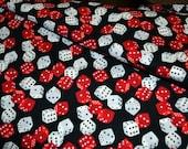Casino Timeless Treasures Cotton Fabric Half Yard Red Dice