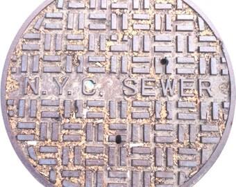 "DOORMAT - NYC ""Leaves"" Sewer Cover Doormat - Original Photography"